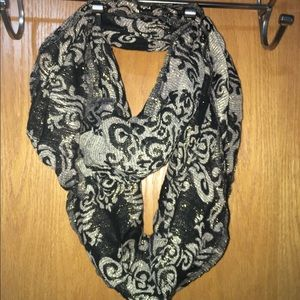 Women's black and gold infinity scarf